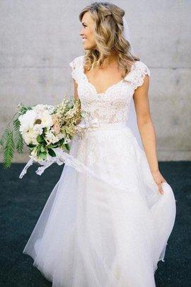 Robe de mariée naturel ligne a avec décoration dentelle de princesse en tulle