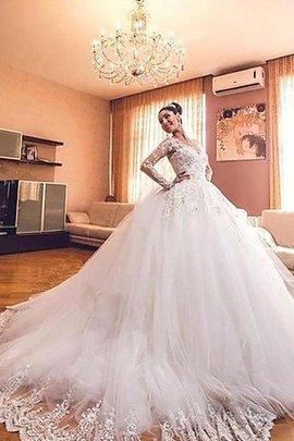 Robe de mariée naturel de col en v avec manche longue de traîne moyenne de mode de bal