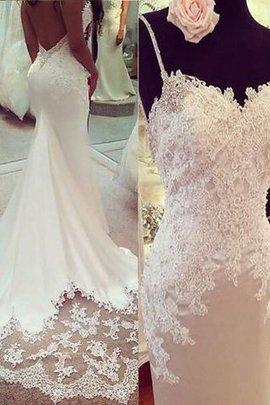 Robe de mariée naturel decoration en fleur en satin de sirène bandouliere spaghetti