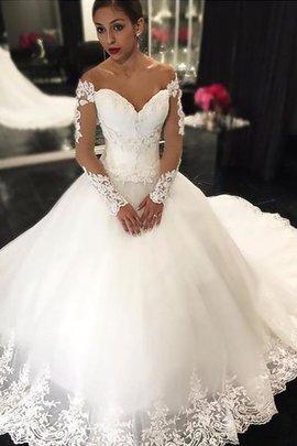 Robe de mariée naturel epaule nue manche nulle de mode de bal en tulle