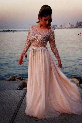 Robe de soirée naturel de princesse avec manche longue en grandes tailles col en bateau