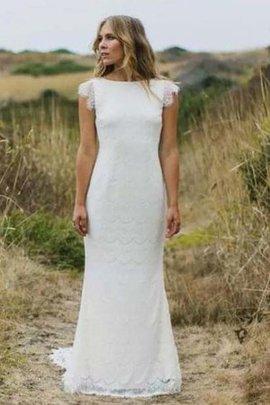 Robe de mariée vintage a plage avec zip de sirène avec manche épeules enveloppants