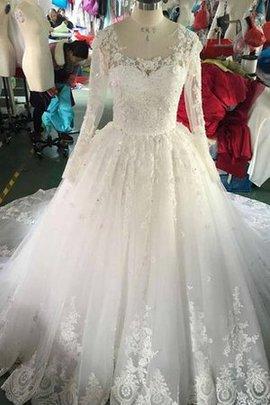 Robe de mariée delicat brillant de traîne mi-longue avec bouton ligne a