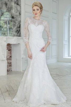 Robe de mariée sage sexy de traîne courte au niveau de cou decoration en fleur