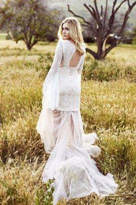 Robe de mariée simple nature de traîne longue encolure en carré asymétrique