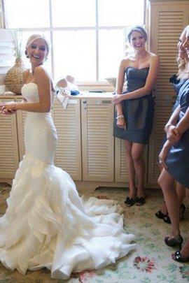Robe de mariée naturel en satin de traîne moyenne de sirène de lotus