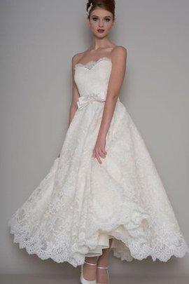 Robe de mariée manche nulle jusqu'à la cheville ceinture haut avec ruban avec fleurs