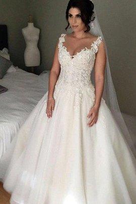 Robe de mariée appliques avec lacets absorbant textile en tulle naturel