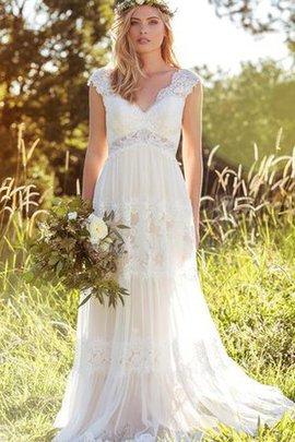 Robe de mariée simple attirent avec manche épeules enveloppants balancement en plage