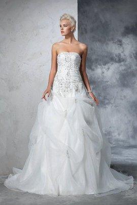 Robe de mariée longue avec sans manches de bustier textile en tulle cordon