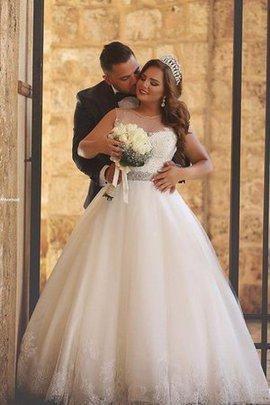 Robe de mariée romantique facile manche nulle appliques jusqu'au sol
