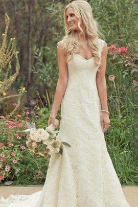 Robe de mariée naturel de sirène avec décoration dentelle de col en v manche nulle
