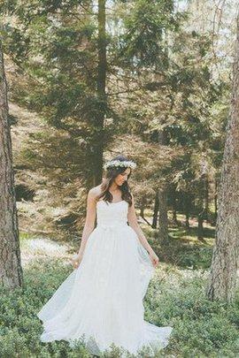 Robe de mariée simple intemporel luxueux plissage jusqu'au sol