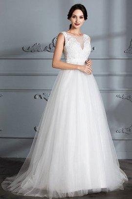 Robe de mariée textile en tulle avec sans manches de traîne courte ligne a de princesse