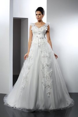 Robe de mariée longue de traîne longue manche nulle avec zip bretelles spaghetti