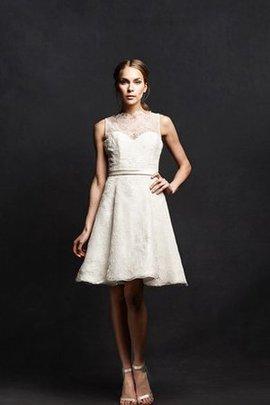 Robe de mariée courte plissage simple noeud en dentelle