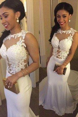 Robe de mariée naturel encolure ronde avec sans manches de traîne moyenne de sirène