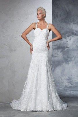 Robe de mariée naturel longue avec décoration dentelle bandouliere spaghetti avec zip