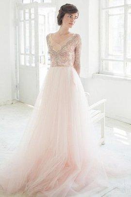 Robe de mariée vintage delicat avec manche longue avec perle de traîne moyenne