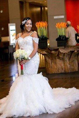 Robe de mariée naturel textile en tulle avec perle de sirène avec sans manches