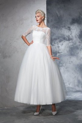 Robe de mariée longue col en bateau fermeutre eclair de mode de bal en 1/2 manche