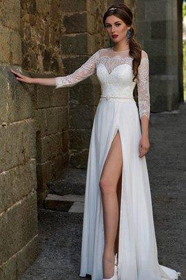 Robe de mariée longue naturel a-ligne au niveau de cou avec perle
