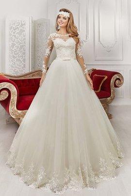 Robe de mariée elégant ceinture avec manche longue avec nœud en dentelle