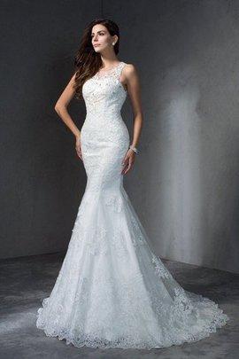 Robe de mariée naturel avec décoration dentelle manche nulle encolure ronde de sirène