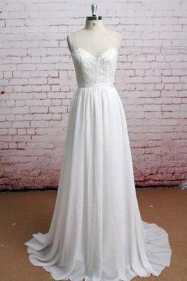 Robe de mariée delicat ceinture en étoffe a-ligne a plage manche nulle