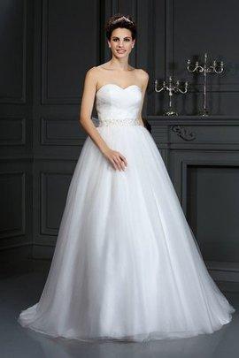 Robe de mariée naturel longue avec perle avec sans manches de traîne moyenne