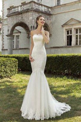 Robe de mariée naturel manche nulle collant en dentelle longueur au ras du sol