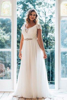 Robe de mariée distinguee v encolure au jardin avec chiffon avec perle