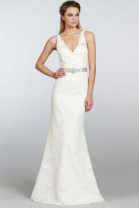 Robe de mariée distinguee longue v encolure de traîne courte avec sans manches