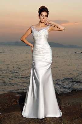 Robe de mariée longue col u profond appliques avec perle en plage