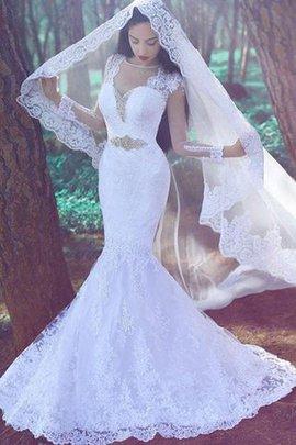 Robe de mariée naturel appliques avec manche longue de traîne moyenne de sirène
