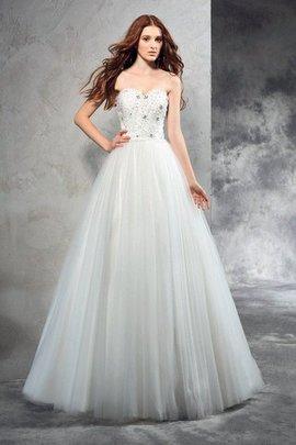 Robe de mariée longue avec zip de princesse avec perle manche nulle