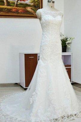 Robe de mariée naturel jusqu'au sol salle interne de sirène de traîne moyenne