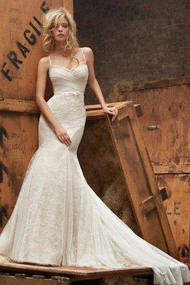 Robe de mariée avec nœud à boucles de traîne courte manche nulle de sirène en chute