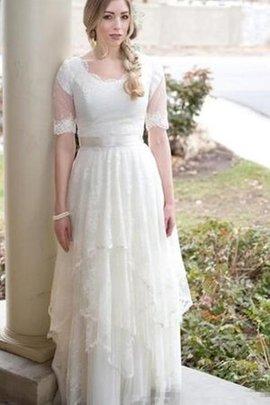 Robe de mariée plissé avec manche courte de lotus longueur au ras du sol encolure ronde