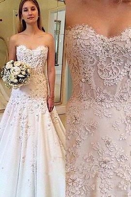 Robe de mariée naturel col en forme de cœur manche nulle a-ligne de princesse