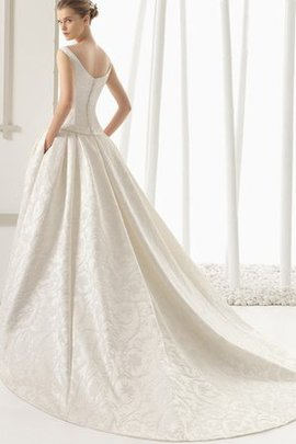 Robe de mariée chic a-ligne en chiffon avec zip grandes bretelles