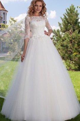 Robe de mariée au niveau de cou de traîne courte en tulle avec manche 1/2 cordon