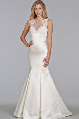 Robe de mariée appliques avec gaze avec décoration dentelle manche nulle gaine