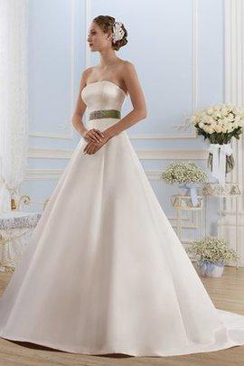 Robe de mariée naturel simple longue en satin de traîne courte