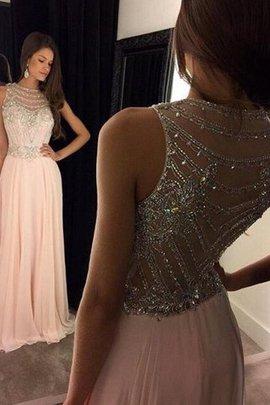 Robe de soirée avec chiffon de princesse manche nulle avec cristal a-ligne