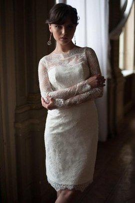 Robe de mariée simple festonné de fourreau de col haut avec manche longue