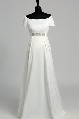 Robe de mariée romantique intemporel ligne a avec manche courte jusqu'au sol