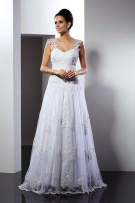 Robe de mariée ligne a de traîne moyenne de princesse appliques larges bretelles