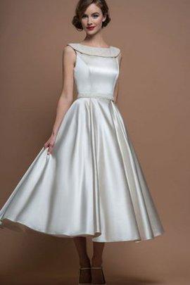 Robe de mariée intemporel nature avec sans manches en satin a-ligne