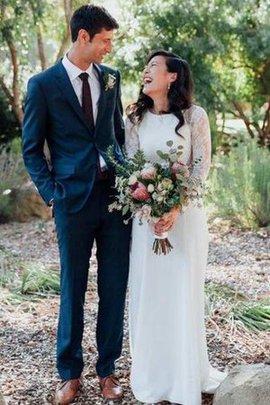 Robe de mariée vintage de fourreau longueur au niveau de sol a-ligne col ras du cou